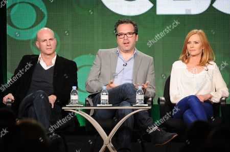"""From left, executive producers Tripp Vinson and Michael Seitzman and cast member Marg Helgenberger participate in the """"Intelligence"""" panel at the CBS Winter TCA Press Tour, on at the Langham Huntington, in Pasadena, Calif"""