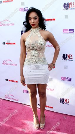 Recording artist and pin up model Darnaa arrives at her Listening Party and Live Performance Event on at Whisky a Go Go in West Hollywood, California