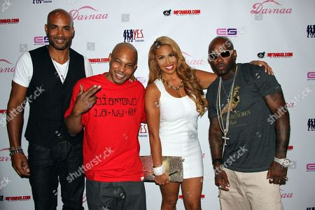 """L-R) Actors Boris Kodjoe, Kirk """"Sticky Fingaz"""" Jones, Somaya Reece and Rapper Treach (Naughty by Nature) pose on the pink carpet at Darnaa's Listening Party and Live Performance Event on at Whisky a Go Go in West Hollywood, California"""