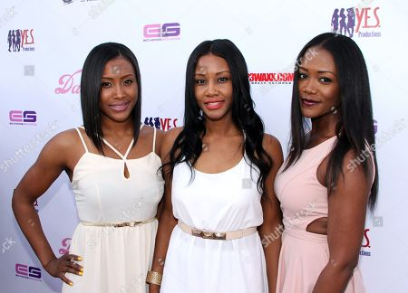 Event producers The Wright Sisters of Y.E.S Productions (L-R) Shantee Wright, Yani Wright and Mena Wright arrive at Darnaa's Listening Party and Live Performance Event on at Whisky a Go Go in West Hollywood, California