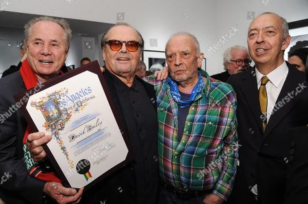 "From left, Tom LaBonge, Jack Nicholson, David Bailey, and Benedikt Taschen attend David Bailey's ""It's Just a Shot Away: The Rolling Stones In Photographs"" Opening Reception, in Los Angeles"