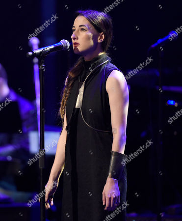 Zola Jesus performs at the David Lynch Foundation Music Celebration at the Theatre at Ace Hotel, in Los Angeles