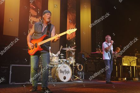 Roger Glover, Ian Gillan, Ian Paice and Don Airey of Deep Purple perform on the final night of the 2014 Tour at the Seminole Hotel and Casinos Hard Rock Live on in Hollywood, Florida