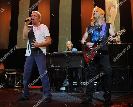Ian Gillan, Don Airey and Steve Morse of Deep Purple perform on the final night of the 2014 Tour at the Seminole Hotel and Casinos Hard Rock Live on in Hollywood, Florida
