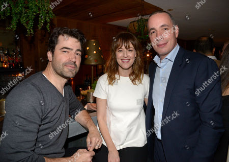 Ron Livingston, and from left, Rosemarie DeWitt and Details Editor and Chief Dan Peres attend the DETAILS Hollywood Mavericks Dinner at Soho House, in West Hollywood, Calif