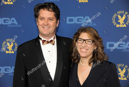Frank Evers, left, and Lauren Greenfield arrive at the 65th Annual Directors Guild of America Awards at the Ray Dolby Ballroom, in Los Angeles