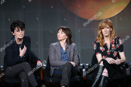 "From left, executive producer Amy Holden Jones, executive producer Ilene Chaiken, and Kelly Reilly participate in ""The Black Box"" panel discussion at the Disney/ABC Winter 2014 TCA Press Tour on in Pasadena, Calif"