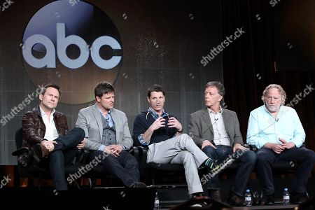 "Stock Photo of From left, Christian Slater, Steve Zahn, executive producers Kyle Killen, Donald Tudd and Timothy Bustfield participate in the ""Mind Games"" panel discussion at the Disney/ABC Winter 2014 TCA Press Tour on in Pasadena, Calif"