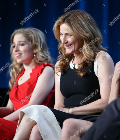 """Allie Grant, left, and Ana Gasteyer participate in the """"Suburgatory"""" panel discussion at the Disney/ABC Winter 2014 TCA Press Tour on in Pasadena, Calif"""