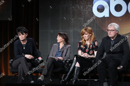 """From left, executive prodcuer Amy Holden James, executive producer Ilene Chaiken, Kelly Reilly, and director Simon Curtis participate in """"The Black Box"""" panel discussion at the Disney/ABC Winter 2014 TCA Press Tour on in Pasadena, Calif"""