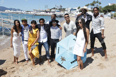 From left, Chanel Iman, Pharell Williams, Kiersey Clemons, Shameik Moore, Amin Joseph, Tony Revolori, Quincy Brown, Zoe Kravitz, Rick Famuyiwa and A$AP Rocky pose for photographers during a photo call for the film Dope, at the 68th international film festival, Cannes, southern France