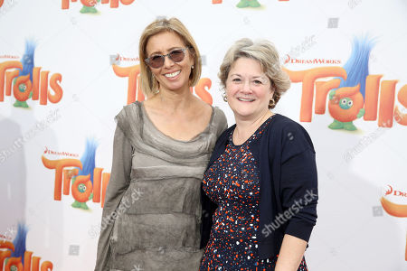 """Mireille Soria and Bonnie Arnold, Co-Presidents of Feature Animation at DreamWorks Animation, seen at DreamWorks Animation and Twentieth Century Fox Present the Los Angeles Premiere of """"Trolls"""" at Regency Village Theatre, in Los Angeles"""