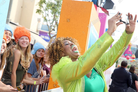 """GloZell Green seen at DreamWorks Animation and Twentieth Century Fox Present the Los Angeles Premiere of """"Trolls"""" at Regency Village Theatre, in Los Angeles"""