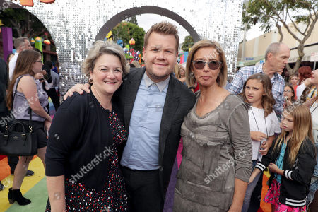 """Bonnie Arnold, Co-President of Feature Animation at DreamWorks Animation, James Corden and Mireille Soria, Co-President of Feature Animation at DreamWorks Animation, seen at DreamWorks Animation and Twentieth Century Fox Present the Los Angeles Premiere of """"Trolls"""" at Regency Village Theatre, in Los Angeles"""