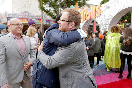 "Stock Image of Ron Funches and Co-Director Walt Dohrn seen at DreamWorks Animation and Twentieth Century Fox Present the Los Angeles Premiere of ""Trolls"" at Regency Village Theatre, in Los Angeles"