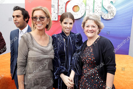 """Mireille Soria, Co-President of Feature Animation at DreamWorks Animation, Anna Kendrick and Bonnie Arnold, Co-President of Feature Animation at DreamWorks Animation, seen at DreamWorks Animation and Twentieth Century Fox Present the Los Angeles Premiere of """"Trolls"""" at Regency Village Theatre, in Los Angeles"""