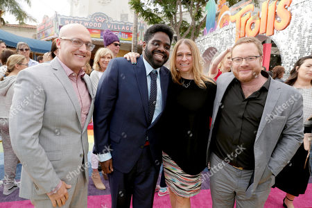 "Stock Picture of Director Mike Mitchell, Ron Funches, Producer Gina Shay and Co-Director Walt Dohrn seen at DreamWorks Animation and Twentieth Century Fox Present the Los Angeles Premiere of ""Trolls"" at Regency Village Theatre, in Los Angeles"