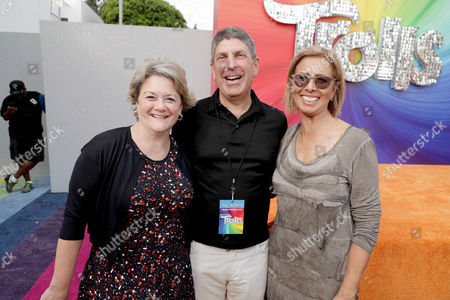 """Bonnie Arnold, Co-President of Feature Animation at DreamWorks Animation, Jeff Shell, Chairman of Universal Filmed Entertainment Group, and Mireille Soria, Co-President of Feature Animation at DreamWorks Animation, seen at DreamWorks Animation and Twentieth Century Fox Present the Los Angeles Premiere of """"Trolls"""" at Regency Village Theatre, in Los Angeles"""
