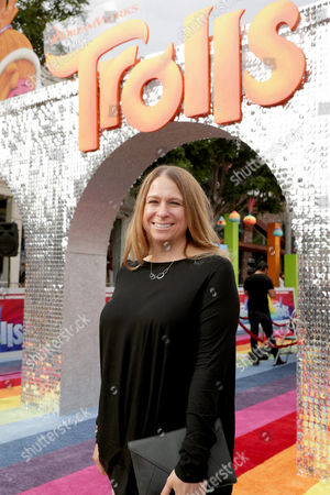 "Producer Gina Shay seen at DreamWorks Animation and Twentieth Century Fox Present the Los Angeles Premiere of ""Trolls"" at Regency Village Theatre, in Los Angeles"