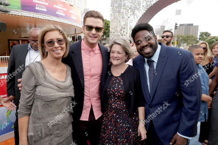 "Mireille Soria, Co-President of Feature Animation at DreamWorks Animation, Justin Timberlake, Bonnie Arnold, Co-President of Feature Animation at DreamWorks Animation, and Ron Funches seen at DreamWorks Animation and Twentieth Century Fox Present the Los Angeles Premiere of ""Trolls"" at Regency Village Theatre, in Los Angeles"
