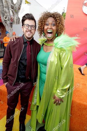 "Christopher Mintz-Plasse and GloZell Green seen at DreamWorks Animation and Twentieth Century Fox Present the Los Angeles Premiere of ""Trolls"" at Regency Village Theatre, in Los Angeles"