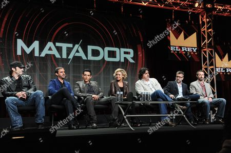 "El Rey Founder/Director Robert Rodriguez, Creator/Executive Producer Roberto Orci, actors Gabriel Luna, Nicky Whelan, Alfred Molina, Creator/Executive Producer Jay Beattie and Creator/Executive Producer Dan Dworkin onstage during the ""Matodor"" segment of the El Rey Network 2014 Summer TCA, in Beverly Hills, Calif"