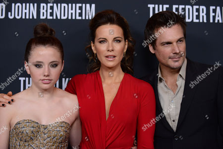 From left, Lily Mo Sheen, Kate Beckinsale and Len Wiseman arrive at Elyse Walkerâ?™s The Pink Party 2013 at Hangar 8 at the Santa Monica Airport on in Santa Monica, Calif