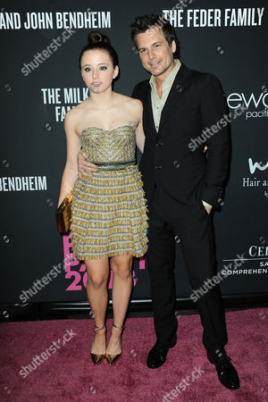 Lily Mo Sheen, left, and Len Wiseman arrive at Elyse Walker's The Pink Party 2013 at Hangar 8 at the Santa Monica Airport on in Santa Monica, Calif