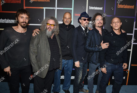 Niko Nicotera, and from left, Mark Boone Junior, David Labrava, Tommy Flanagan, Kim Coates and Theo Rossi arrives at Entertainment Weekly's Annual Comic-Con Closing Night Celebration at the Hard Rock Hotel, in San Diego