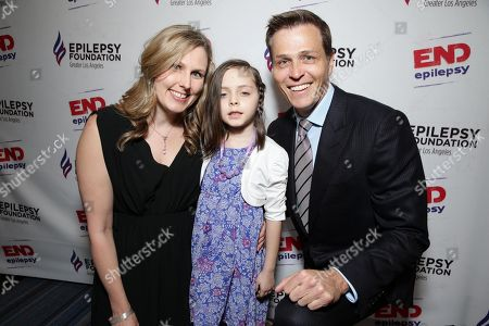 Dr. Erin Kiehna, 7 year old Mila Mullenix and Patrick Whitesell, WME | IMG Co-CEO seen at the Epilepsy Foundation of Greater Los Angeles Care and Cure benefit honoring Patrick Whitesell, WME | IMG Co-CEO, in Beverly Hills, CA