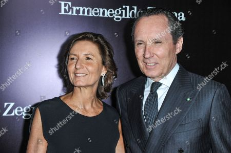 Stock Photo of From left, Anna Zegna, and Gildo Zegna arrive at the Ermenegildo Zegna Boutique opening on in Beverly Hills, Calif