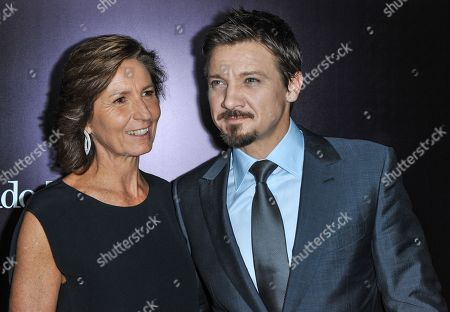 Stock Picture of Anna Zegna, left, and Jeremy Renner arrive at the Ermenegildo Zegna Boutique opening on in Beverly Hills, Calif