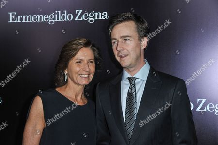 Anna Zegna, left, and Edward Norton arrive at the Ermenegildo Zegna Boutique opening on in Beverly Hills, Calif