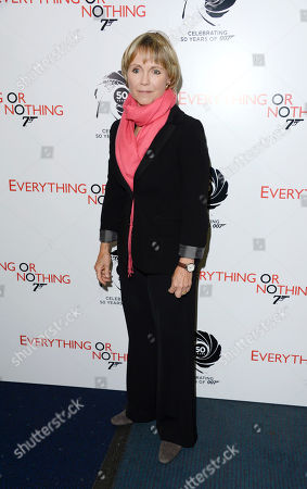 """Lucy Fleming poses at the """"Everything or Nothing - The Untold Story of 007"""" premiere at Odeon West End on in London"""