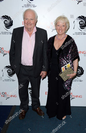 Shane Rimmer, Sheila Rimmer poses at Everything or Nothing - The Untold Story of 007 at Odeon West End on in London
