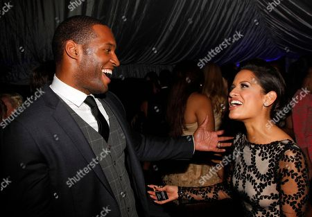 Actor Lawrence Saint-Victor and TV journalist Rocsi Diaz seen at Fame and Philanthropy's Celebrates the 86th Academy Awards on at The Vineyard Beverly Hills in Los Angeles, CA