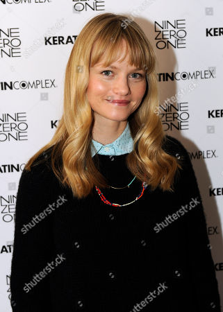 Actress Lindsay Pulsipher visits the Keratin Complex pop-up salon at the Fender Music lodge during the Sundance Film Festival, in Park City, Utah