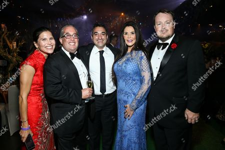 Stock Image of Michelle Perry, from left, Marc Taub, Michael Young, Barbara Lazaroff and Jaime Stewart attend Ferrari at the 68th Primetime Emmy Awards Governors Ball held at the L.A. Convention Center, in Los Angeles