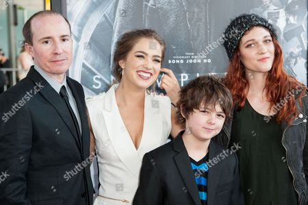 """Stock Picture of From left, Tom Hammock, Haley Lu Richardson, Max Charles, and Nicole Fox arrive at the Los Angeles Film Festival Opening Night Gala - """"Snowpiercer"""" on in Los Angeles"""