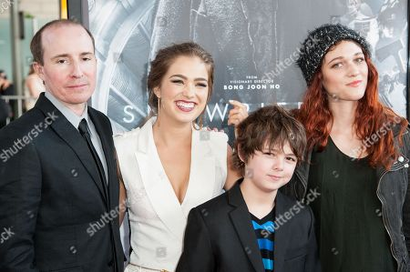 """From left, Tom Hammock, Haley Lu Richardson, Max Charles, and Nicole Fox arrive at the Los Angeles Film Festival Opening Night Gala - """"Snowpiercer"""" on in Los Angeles"""
