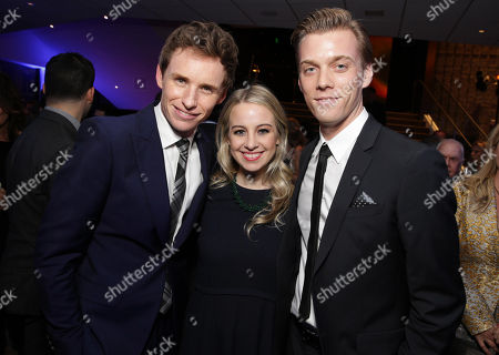 "Eddie Redmayne, Allie Wood and Jake Abel seen at Focus Features Los Angeles premiere of ""The Theory of Everything"", in Beverly Hills"
