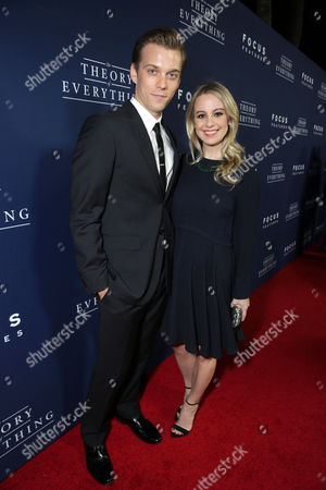 "Jake Abel and Allie Wood seen at Focus Features Los Angeles premiere of ""The Theory of Everything"", in Beverly Hills"
