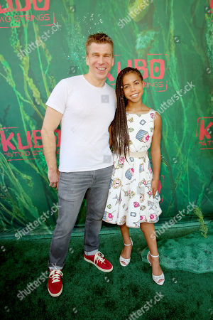 """Stock Picture of Screenwriter Marc Haimes and Asia Monet Ray seen at Focus Features Los Angeles Premiere of LAIKA """"Kubo and The Two Strings"""", in Universal City, Calif"""