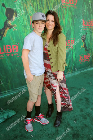 """Finley Arthur Donoho and Holly Marie Combs seen at Focus Features Los Angeles Premiere of LAIKA """"Kubo and The Two Strings"""", in Universal City, Calif"""