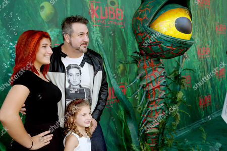 """Stock Picture of Briahna Joely Fatone, Kloey Alexandra Fatone and Joey Fatone seen at Focus Features Los Angeles Premiere of LAIKA """"Kubo and The Two Strings"""", in Universal City, Calif"""