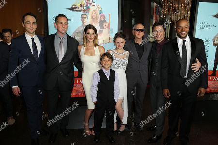 Jim Parsons, Focus Features CEO Peter Schlessel, Ashley Greene, Pierce Gagnon, Joey King, Producer Michael Shamberg, Screenwriter/Director Zach Braff and Donald Faison seen at Focus Features Presents the Los Angeles Premiere of 'Wish I Was Here', in Los Angeles