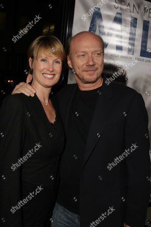 NOVEMBER 13: Deborah Rennard and Paul Haggis at Focus Features' Los Angeles Premiere of 'MILK' on at Academy of Motion Pictures Arts and Sciences in Beverly Hills, CA