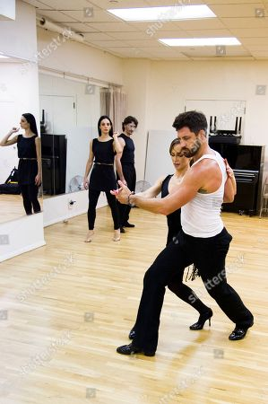 """Â?oeDancing with the Starsâ?? professional dancers Karina Smirnoff and Maksim Chmerkovskiy rehearse in front of cast members Juan Horvath and Victoria Galoto for the upcoming Broadway show """"Forever Tango"""" on in New York"""