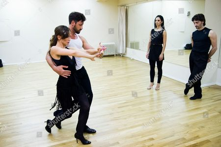 """Dancing with the Stars professional dancers Karina Smirnoff and Maksim Chmerkovskiy rehearse in front of cast members Juan Horvath and Victoria Galoto for the upcoming Broadway show """"Forever Tango"""" on in New York"""