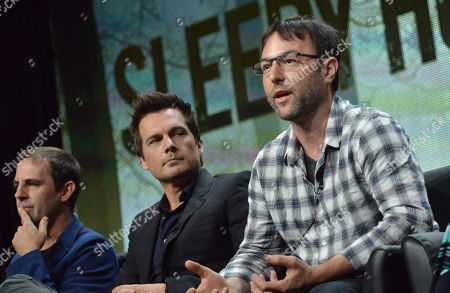 "From left, Co-Creator/Executive Producer Roberto Orci, Co-Creator/Executive Producer Len Wiseman and Executive Producer Mark Goffman speak on stage during the ""Sleepy Hollow"" panel at the The FOX 2014 Summer TCA held at the Beverly Hilton Hotel, in Beverly Hills, Calif"